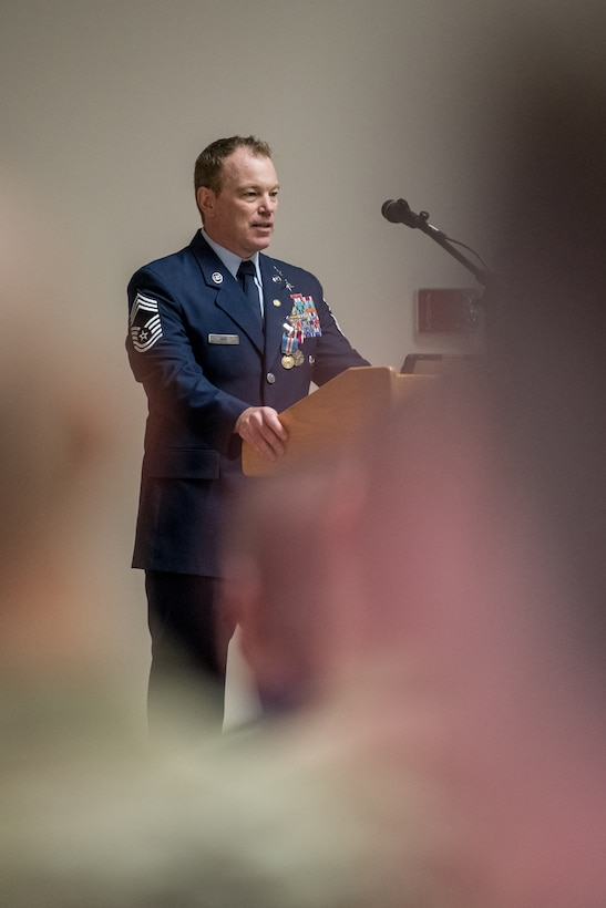 Chief Master Sgt. Aaron May, the outgoing chief enlisted manager for the 123rd Special Tactics Squadron, speaks at his retirement ceremony at the Kentucky Air National Guard Base in Louisville, Ky., on Dec 7, 2019. May is retiring after more than 26 years of service to the Kentucky Air National Guard and U.S. Air Force. (U.S. Air National Guard photo by Staff Sgt. Joshua Horton)