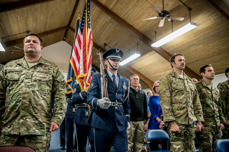 The 123rd Airlift Wing Color Guard pepares to present the colors during the retirement ceremony of Chief Master Sgt. Aaron May, the outgoing chief enlisted manager for the 123rd Special Tactics Squadron, at the Kentucky Air National Guard Base in Louisville, Ky., on Dec 7, 2019. May is retiring after more than 26 years of service to the Kentucky Air National Guard and U.S. Air Force. (U.S. Air National Guard photo by Staff Sgt. Joshua Horton)