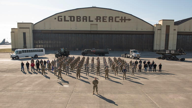 92nd Logistics Readiness Squadron Airmen pose for a photo in front of a KC-135 Stratotanker at Fairchild Air Force Base, Washington, Nov. 14, 2019. The Air Force announced the 92nd Logistics Readiness Squadron to be the winners of the best Logistics Readiness Squadron in the Air Force awarded on 10 April. (U.S. Air Force photo by Senior Airman Ryan Lackey)