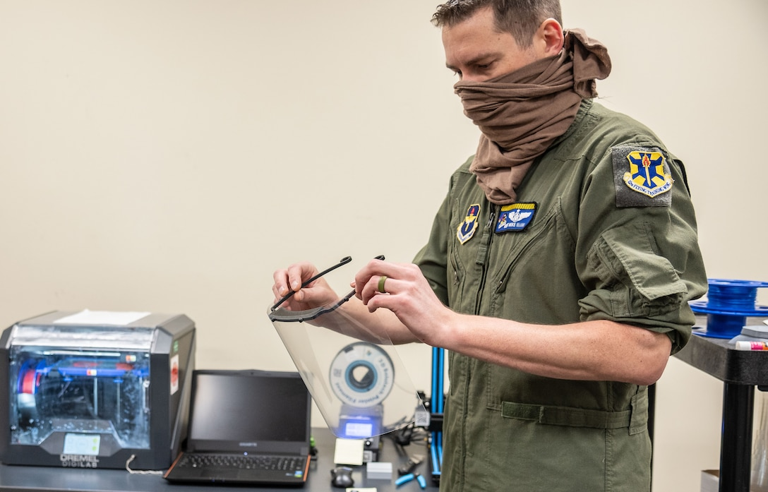 The 558th FTS printed face shields using a 3-D printer
