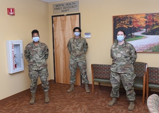 Airmen from the 9th Medical Operations Squadron Mental Health Clinic pose for a picture, April 15, 2020, at Beale Air Force Base California. These Airmen provide mental healthcare to patients, making sure they are mentally fit and mission ready. (U.S. Air Force photo by Airman 1st Class Luis A. Ruiz-Vazquez)