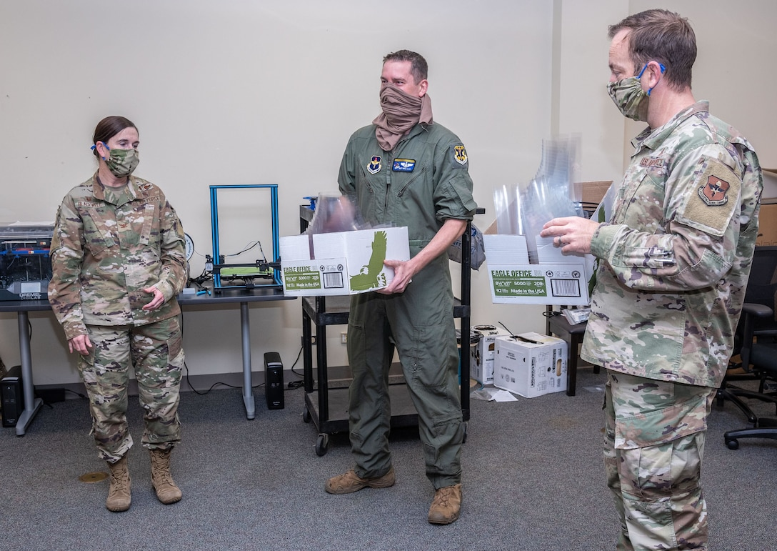 The 558th Flying Training Squadron produced face shields using a 3-D printer.
