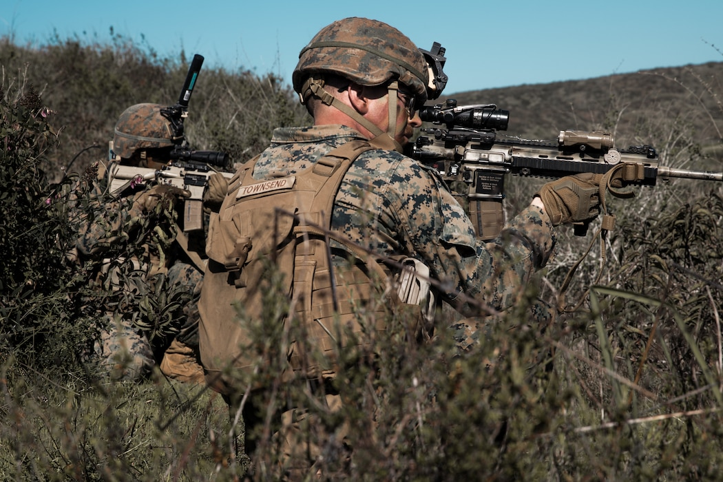U.S. Marines with 2nd Battalion, 4th Marine Regiment, 1st Marine Division conduct a mechanized raid at Marine Corps Base Camp Pendleton, California on Jan. 29, 2020. 2nd Battalion, 4th Marine Regiment worked with 3d Assault Amphibian Battalion to conduct a mechanized raid to enhance lethality and hone combat skills. (U.S. Marine Corps photo by Sgt. Teagan Fredericks)