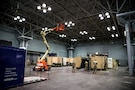 Soldiers from 531st Hospital Center set up mobile work stations in the Javits New York Medical Station.