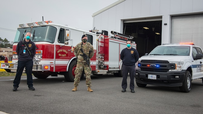 Connecticut Air National Guard fire department and Security Forces personnel at the Bradley Air National Guard Base fire house in East Granby, Connecticut, April 20, 2020. The base fire department and 103rd Security Forces Squadron continue to operate around the clock to ensure the safety and security of Connecticut Air National Guard personnel and provide support to mutual aid emergency response partners during the COVID-19 pandemic. (U.S. Air National Guard photo by Staff Sgt. Steven Tucker)