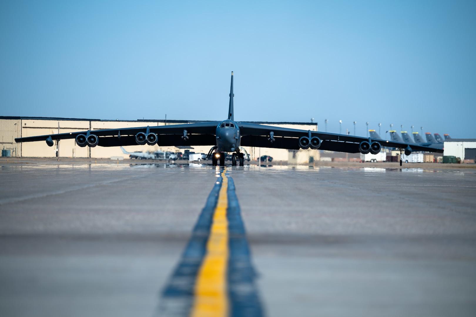 B-52 sits on runway