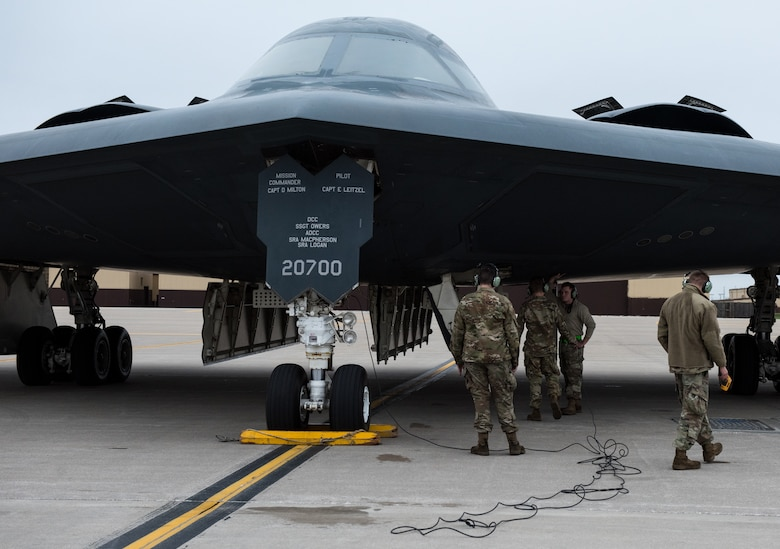 U.S. Air Force Airmen assigned to the 509th Bomb Wing refuel a B-2 Spirit stealth bomber at Whiteman Air Force Base, Missouri, March 18, 2020. This mission allowed the 509th Bomb Wing and the 131st Bomb Wing to work and train together as part of the Total Force Integration. (U.S. Air Force photo by Airman 1st Class Christina Carter)