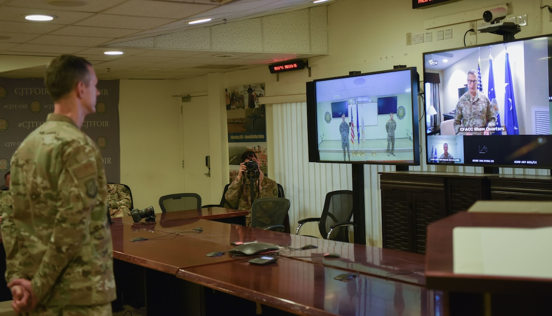 Lt. Gen Joseph T. Guastella, U.S. Air Forces Central commander, on screen, presides over the 9th Air Expeditionary Task Force-Levant Change of Command Ceremony at Camp Arifjan, Kuwait, April 20, 2020.