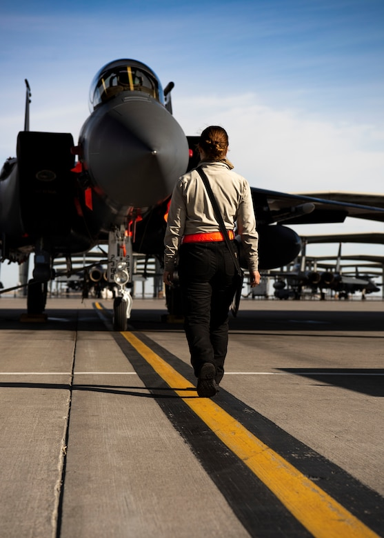 U.S. Air Force Airman 1st Class Kristin Lyons, 391st Fighter Squadron crew chief, completes an inspection of an F-15E Strike Eagle, April 14, 2020, at Mountain Home Air Force Base, Idaho. The 391st FS has adjusted its work tempo to more accurately reflect a deployment setting to increase readiness and better apply the safety measures during the COVID-19 pandemic. (U.S. Air Force photo by Airman 1st Class Andrew Kobialka)
