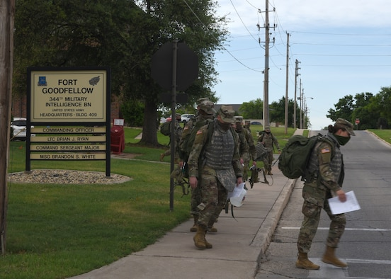 U.S. Army students from the 344th Military Intelligence Battalion haul their extra equipment out of Fort Goodfellow while wearing face masks, on Goodfellow Air Force Base, Texas, April 20, 2020. The Soldiers returned their field gear because they graduated their technical training course. The Soldiers practiced COVID-19 preventative measures through social distancing and wearing masks. (U.S. Air Force photo by Airman 1st Class Abbey Rieves)