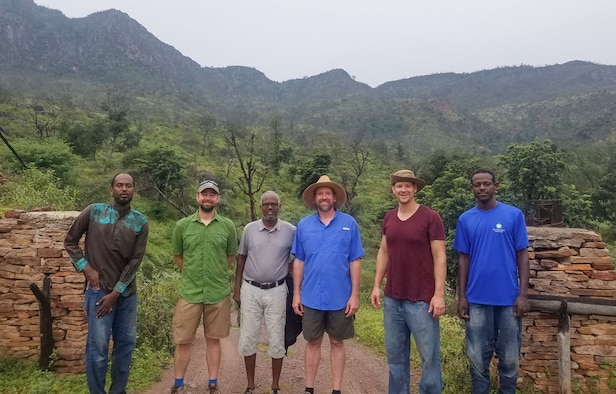 Group photo of expedition team and cadre ofDjiboutian nationals. Pictured from left to right - Djama from the Ministry of the Environment, James Whatton, Houssein Rayaleh from Djibouti Nature, Christopher Milensky, 1st Lt. Will Boss, and their driver Mohammad.