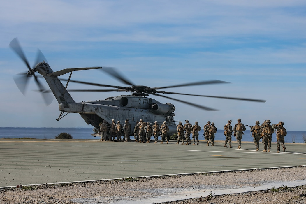U.S. Marines with 2nd Battalion, 4th Marine Regiment, 1st Marine Division conduct a helo raid at Marine Corps Base Camp Pendleton, California, Feb. 5, 2020. The Marines were supported by 1st Law Enforcement Battalion and 1st Combat Engineer Battalion to enhance lethality and hone combat skills. (U.S. Marine Corps photo by Cpl. Austin Herbert)