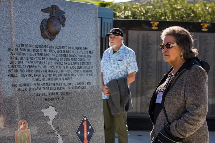 U.S. Marine veterans and families with the 1st Marine Division Association visit 5th Marine Regiment's Memorial Garden on Marine Corps Base Camp Pendleton, California, Jan. 30, 2020. The veterans visited the memorial to honor those Marines and Sailors who gave the ultimate sacrifice while serving with 1st Marine Division. (U.S. Marine Corps photo by Cpl. Alexa M. Hernandez)