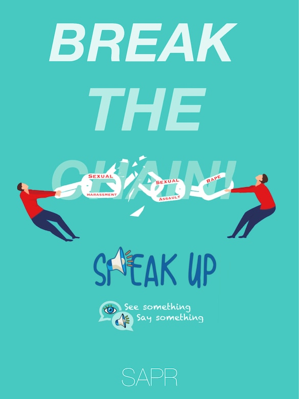 April is recognized as Sexual Assault Prevention and Response month. This year the focus of the SAPR team is to encourage Airmen and their families to be an active bystander, as speaking up and facilitating communication is one of the most effective ways to prevent sexual assault.  (Courtesy Graphic)