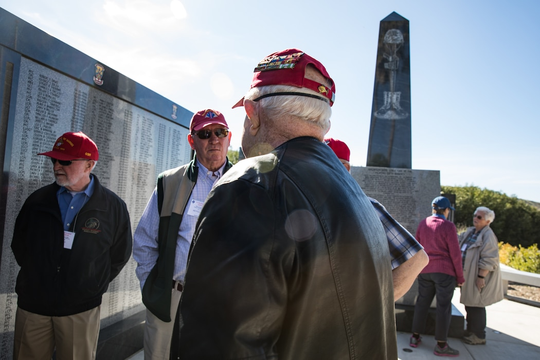 U.S. Marine veterans with the 1st Marine Division Association visit 5th Marine Regiment's Memorial Garden on Marine Corps Base Camp Pendleton, California, Jan. 30, 2020. The veterans visited the memorial to honor those Marines and Sailors who gave the ultimate sacrifice while serving with 1st Marine Division. (U.S. Marine Corps photo by Cpl. Alexa M. Hernandez)