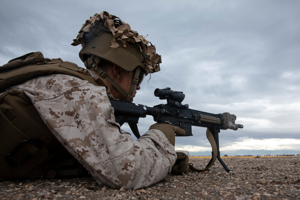 U.S. Marines with 2nd Battalion, 5th Marine Regiment, 1st Marine Division form a blocking position during exercise Steel Knight 20 (SK20) at Naval Air Facility El Centro, California, Dec. 7, 2019. SK20 is an annual training exercise executed by approximately 13,000 Marines and Sailors designed to improve and assess the 1st Marine Division's ability to fight and win against a peer or near-peer threat. (U.S. Marine Corps photo by Sgt. Alina Thackray)