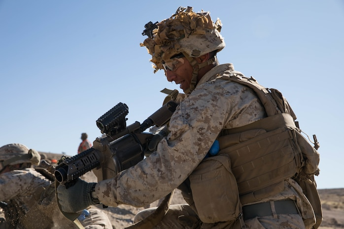 A U.S. Marine Corps Rifleman with 1st Battalion, 3rd Marine Regiment, 3rd Marine Division holds the defense during the Integrated Training Exercise (ITX) at Marine Air Ground Combat Center, Twentynine Palms, California, Jan. 25, 2019. ITX is a month-long training event that applies combined-arms maneuver and offensive and defensive operations to prepare Marines for deployment. (U.S. Marine Corps photo by Cpl. Jack C. Howell)