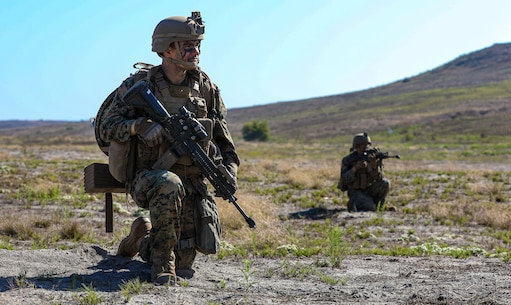 U.S. Marines with 2nd Battalion, 5th Marine Regiment, 1st Marine Division, patrol during a Marine Corps Combat Readiness Evaluation (MCCRE) on Marine Corps Base Camp Pendleton, California, Sept. 21, 2019. 5th Marines conducted a regimental-sized MCCRE for 1st Battalion, 5th Marines and 2nd Battalion, 5th Marines, as well as the Regimental Headquarters to increase the combat proficiency and readiness of the regiment. The MCCRE took place over a 10 day period and served as proof of concept for future regimental-sized MCCREs. (U.S. Marine Corps photo by Lance Cpl. Roxanna Ortiz)