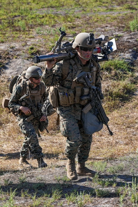 U.S. Marines with 2nd Battalion, 5th Marine Regiment, 1st Marine Division, hike during a Marine Corps Combat Readiness Evaluation (MCCRE) on Marine Corps Base Camp Pendleton, California, Sept. 21, 2019. 5th Marines conducted a regimental-sized MCCRE for 1st Battalion, 5th Marines and 2nd Battalion, 5th Marines, as well as the Regimental Headquarters to increase the combat proficiency and readiness of the regiment. The MCCRE took place over a 10 day period and served as proof of concept for future regimental-sized MCCREs. (U.S. Marine Corps photo by Lance Cpl. Roxanna Ortiz)