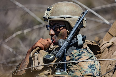 U.S. Marine Corps Cpl. Edgar Barajachavez, a squad leader with 2nd Battalion, 5th Marine Regiment, 1st Marine Division, drinks water during a Marine Corps Combat Readiness Evaluation (MCCRE) on Marine Corps Base Camp Pendleton, California, Sept. 22, 2019. 5th Marines conducted a regimental-sized MCCRE for 1st Battalion, 5th Marines and 2nd Battalion, 5th Marines, as well as the Regimental Headquarters to increase the combat proficiency and readiness of the regiment. The MCCRE took place over a 10 day period and served as proof of concept for future regimental-sized MCCREs. (U.S. Marine Corps photo by Lance Cpl. Roxanna Ortiz)