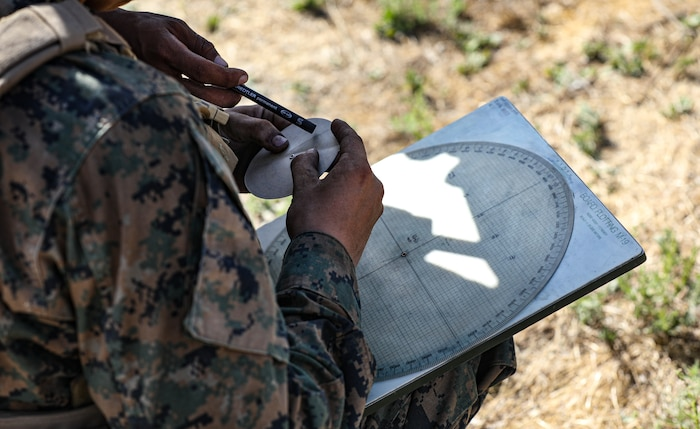 U.S. Marine Corps Pfc. Brock Barton, a mortarman with 2nd Battalion, 5th Marine Regiment, 1st Marine Division, uses a whiz wheel during a Marine Corps Combat Readiness Evaluation (MCCRE) on Marine Corps Base Camp Pendleton, California, Sept. 22, 2019. 5th Marines conducted a regimental-sized MCCRE for 1st Battalion, 5th Marines and 2nd Battalion, 5th Marines, as well as the Regimental Headquarters to increase the combat proficiency and readiness of the regiment. The MCCRE took place over a 10 day period and served as proof of concept for future regimental-sized MCCREs. (U.S. Marine Corps photo by Lance Cpl. Roxanna Ortiz)