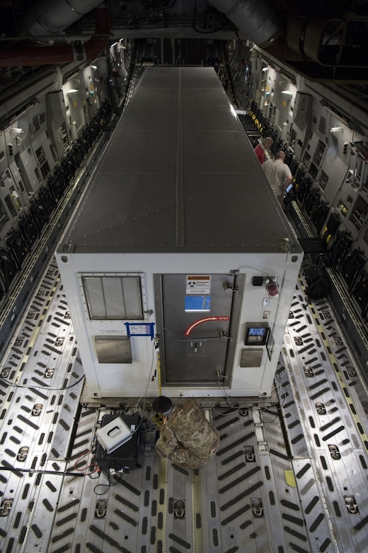 Operational testers from across the Department of Defense to test the Portable Bio-Containment Module on a C-17 Globemaster III at Joint-Base Charleston, S.C.