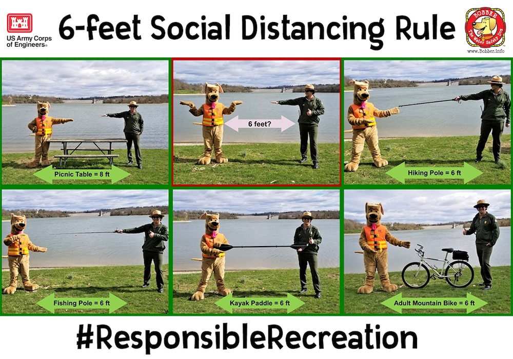 If you're finding it hard to estimate what exactly 6-feet looks like, here are Bobber the Water Safety Dog and a USACE park ranger using some common recreational items to help you determine the appropriate distance you should keep from other people. #ResponsibleRecreation