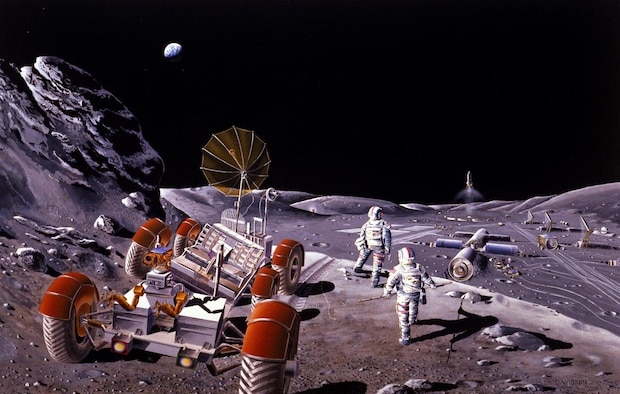 NASA astronauts exit their rover to view the agency's lunar base