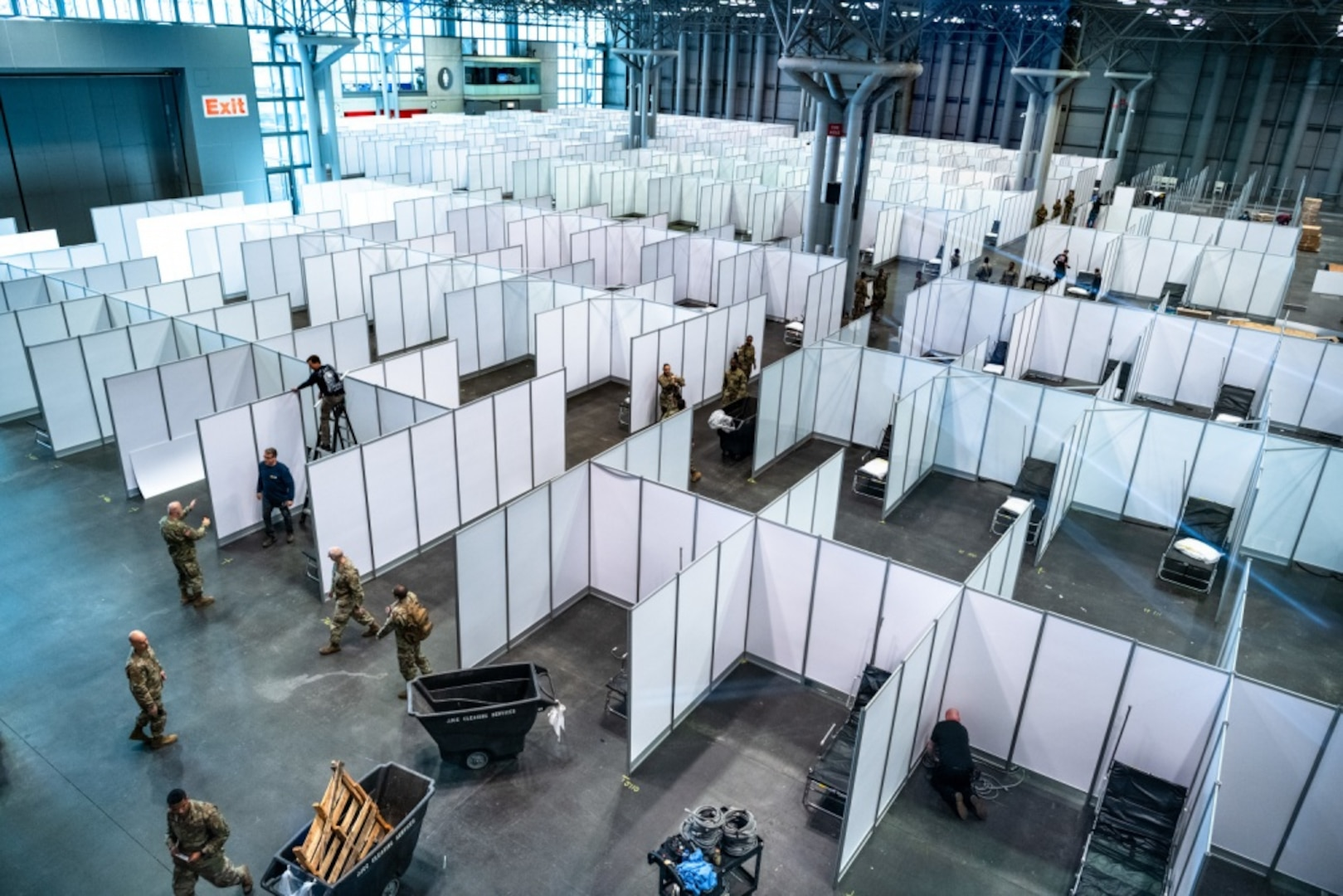 FEMA is working with HHS and the state of New York to complete construction of a 1,000-bed medical station at the Jacob K. Javits Convention Center in New York City.