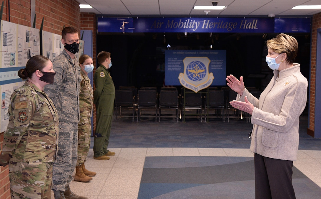 The Honorable Barbara M. Barrett, Secretary of the Air Force, speaks to outstanding performers from the 618th Air Operations Center at Scott Air Force Base, Illinois, April 21, 2020. Barrett visited the 618th Air Operations Center, Air Mobility Command's execution arm for providing America's global reach, to see how the team continues to accomplish their mission in light of social distancing requirements. (U.S. Air Force photo by Master Sgt. Mike Andriacco)