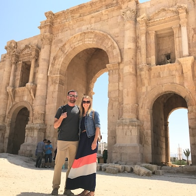 Capt Jennie Seibert and a fellow LEAP scholar at the Arch of Hadrian in Jordan. Photo compliments of Capt Seibert.