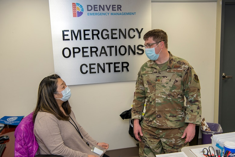 Members of the Colorado National Guard volunteer to support state and local officials combat the Corona Virus Pandemic by assisting state and local officials by, among other things, setting up emergency operations centers, a joint operations center and assisting local shelters in the Denver area.