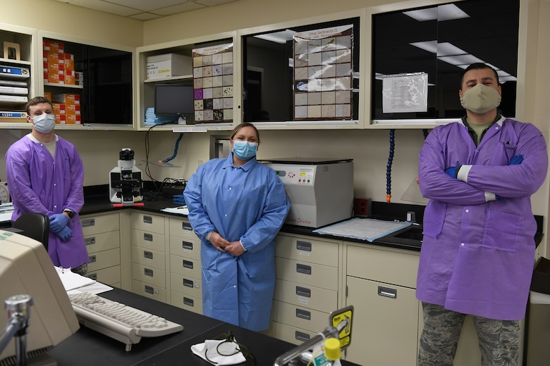 Members assigned to the 30th Healthcare Operations Squadron Laboratory and a laboratory technician manning assistant from Patrick Air Force Base pose for a photo in celebration of Medical Laboratory Professionals Week, also known as Lab Week, April 20, 2020, at Vandenberg Air Force Base, Calif.