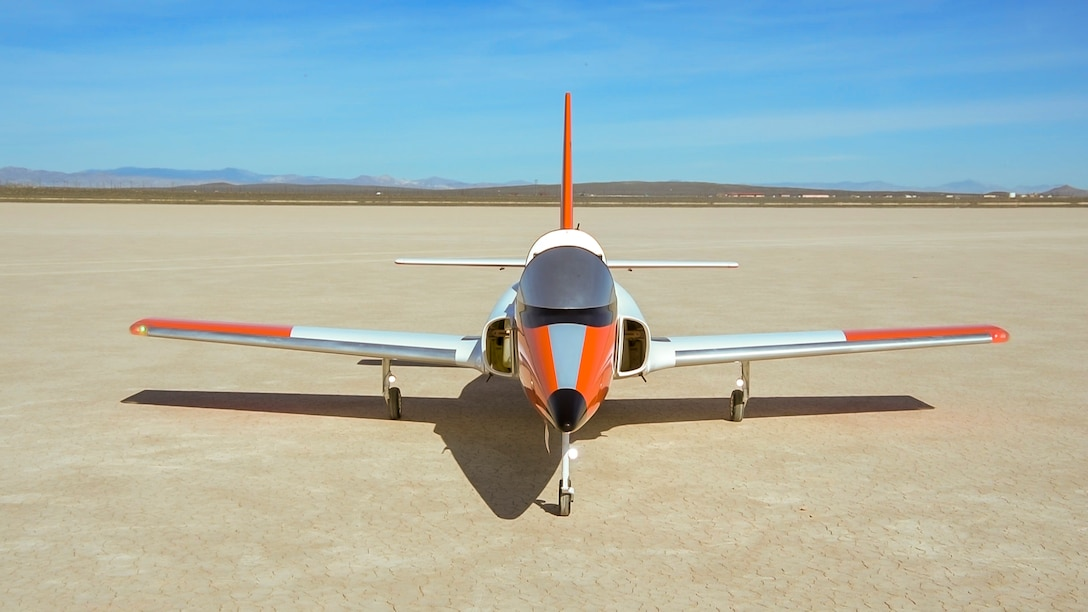 A Bob Violett Models 'Renegade' commercial, off-the-shelf, turbine-powered jet aircraft, is parked at a dry lake bed prior to a test flight at Edwards Air Force Base, March 4. The aircraft will be used as an autonomous software test bed by the 412th Test Wing's Emerging Technology Combined Test Force. (Air Force photo by Chris Dyer)