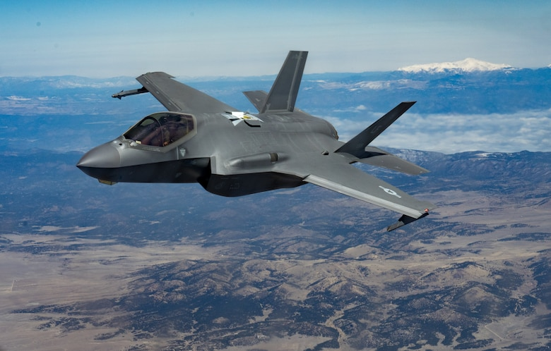 An F-35A Lightning II assigned to the 56th Fighter Wing at Luke Air Force Base, Ariz., flies over Colorado April 17, 2020.