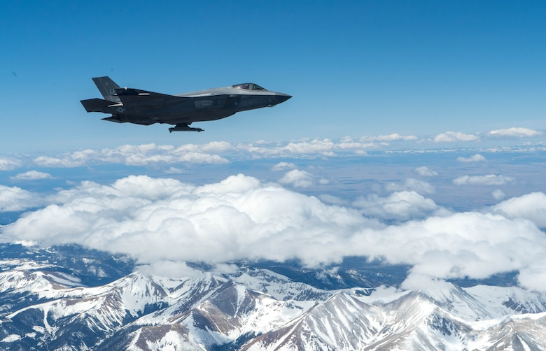 An F-35A Lightning II, assigned to the 56th Fighter Wing, at Luke Air Force Base, Ariz., flies over Colorado en route to the Air Force Academy April 17, 2020.