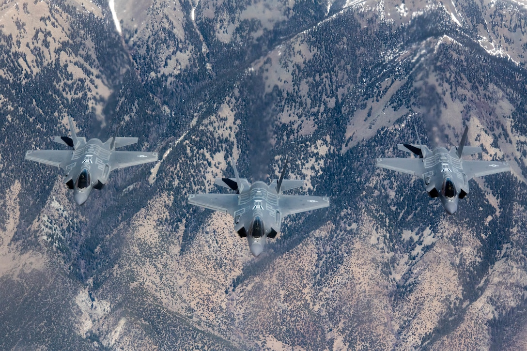 F-35A Lightning IIs, assigned to the 56th Fighter Wing, at Luke Air Force Base, Ariz., fly in formation April 17, 2020, over Colorado.