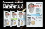 "Graphic with CAC and ""Common Access Cards - Updating your credentials"""