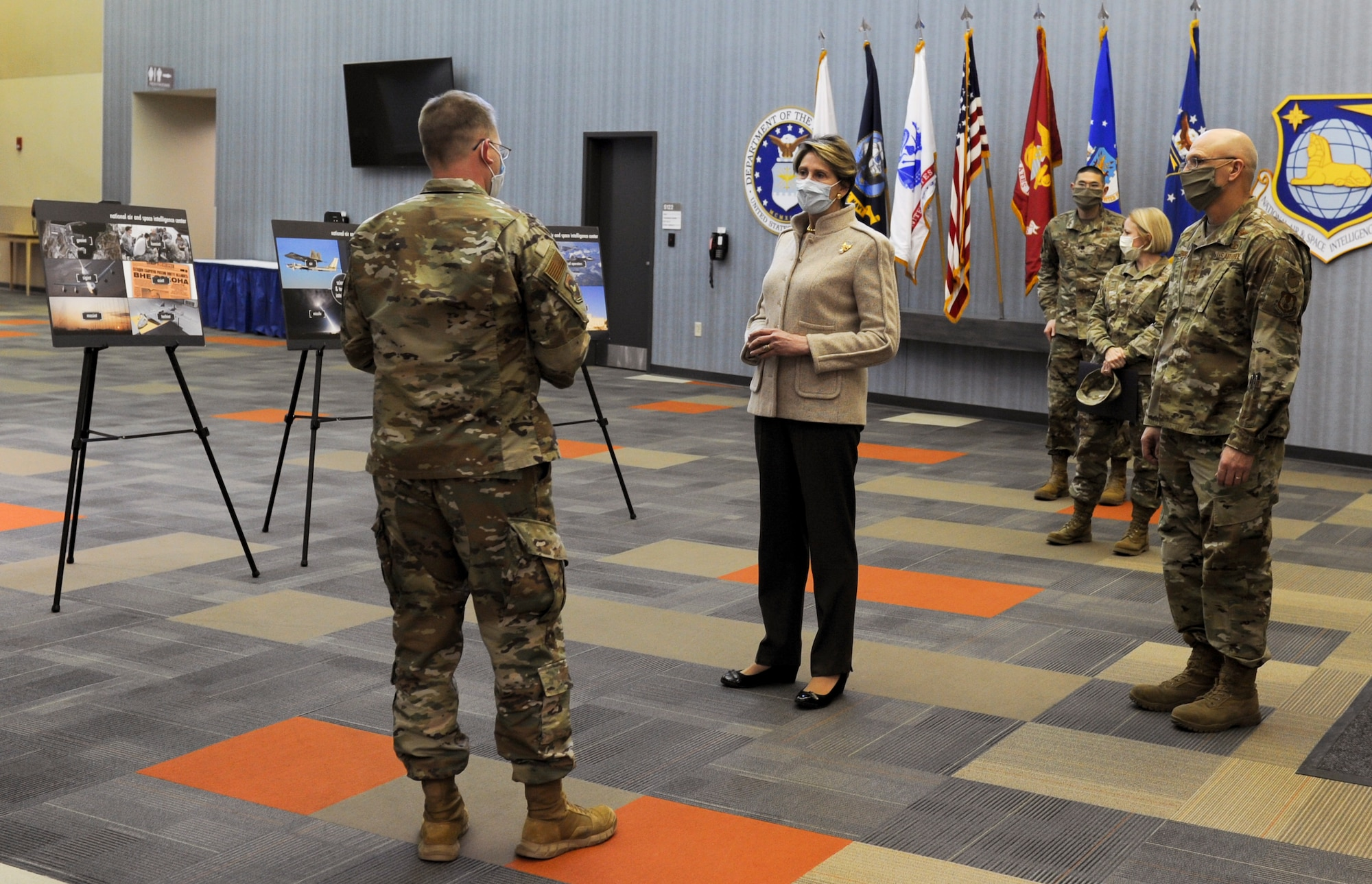 Col. Parker Wright, Commander, National Air and Space Intelligence Center, briefs Secretary of the Air Force Barbara M. Barrett