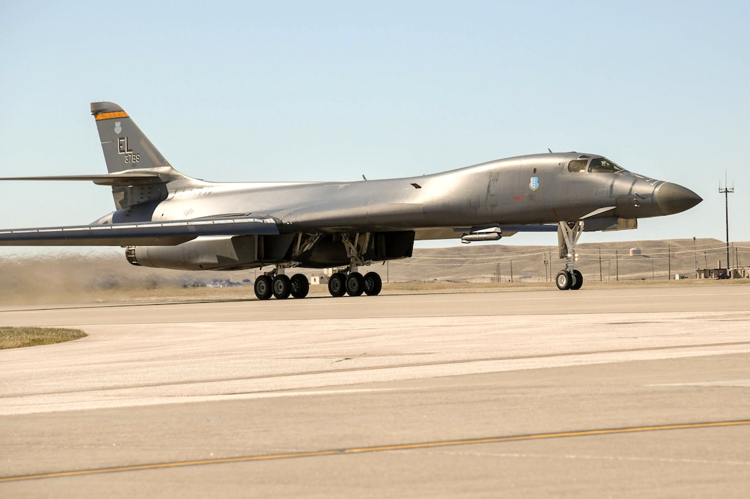 A U.S. Air Force B-1B Lancer taxis prior to departing Ellsworth Air Force Base, S.D., April 21, 2020. The B-1 bomber flew from the continental United States and integrated with the Koku Jieitai (Japan Air Self Defense Force or JASDF) to conduct bilateral and theater familiarization training near Japan. (U.S. Air Force photo by Senior Airman Michael Jones)