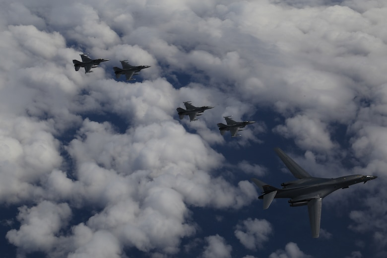 A U.S. Air Force B-1B Lancer from Ellsworth Air Force Base, S.D. and F-16 Fighting Falcons from Misawa Air Base, Japan, conducted bilateral joint training with Japan Air Self-Defense Force (JASDF) F-2s and F-15s off the coast of Northern Japan, April 22, 2020. U.S. Strategic Command's bomber forces regularly conduct combined theater security cooperation engagements with allies and partners, demonstrating U.S. capability to command, control and conduct bomber missions around the world. (Courtesy photo by the Japan Air-Self Defense Force)