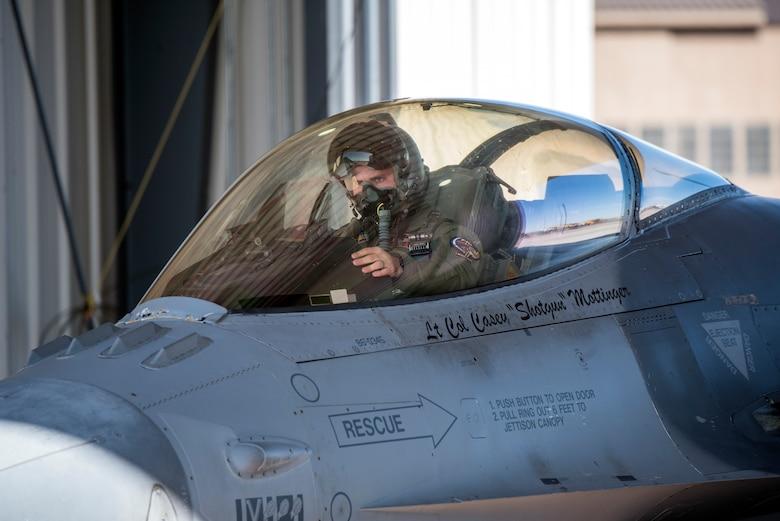 Pilot in F-16 cockpit