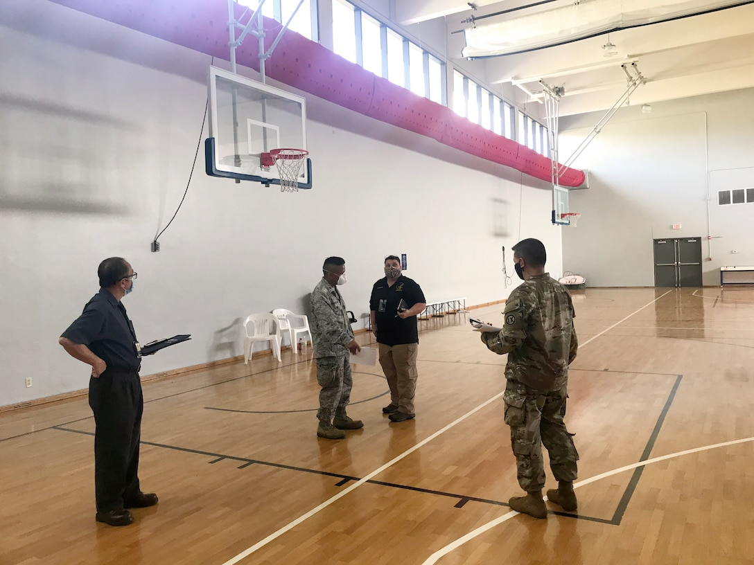 Representatives from the U.S. Army Corps of Engineers (USACE), Honolulu District, the government of Guam, the Federal Emergency Management Agency (FEMA), U.S. Department Health and Human Services, and 18th MEDCOM conducted a site assessment April 22 of the Guam Basketball National Training Center in Tiyan for potential future use as Alternate Care Facility.