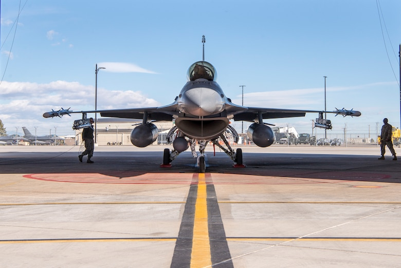F-16 in alert hangar