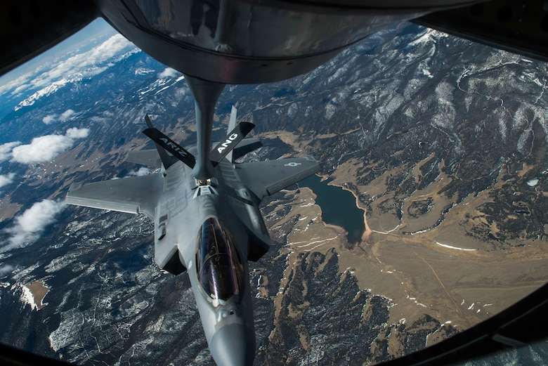 Luke F-35s refuel en route to USAFA flyover