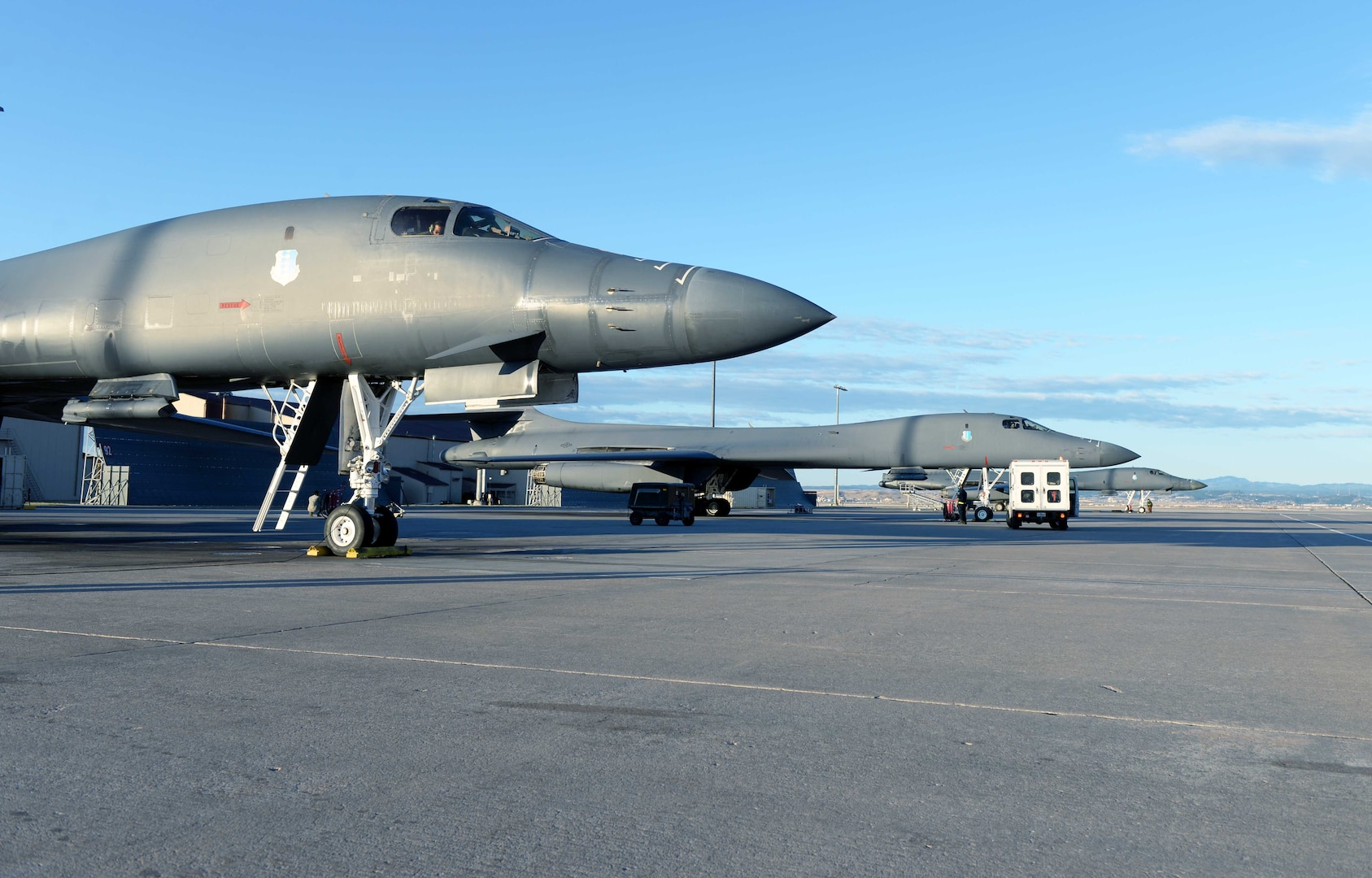 A U.S. Air Force B-1B Lancer stands ready prior to departing Ellsworth Air Force Base, S.D., April 21, 2020. Carrying the largest conventional payload of both guided and unguided weapons in the Air Force inventory, the multi-mission B-1 is the backbone of America's long-range bomber force. The Department of Defense maintains command and control of its bomber force for any mission, anywhere in the world, at any time. (U.S. Air Force photo by Airman Quentin K. Marx)