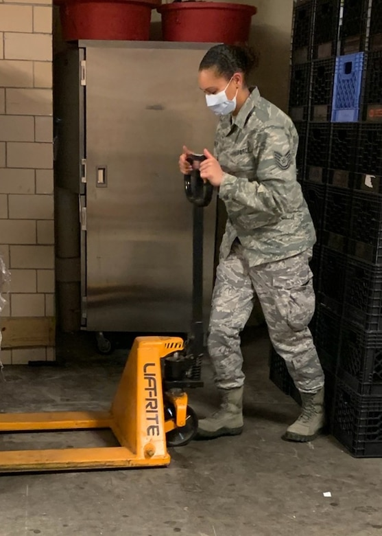 More than 50 members of the 104th Fighter Wing, Barnes Air National Guard Base, Mass., are on orders and leading the way to help the Commonwealth in response to the COVID-19 pandemic. Technical Sgt. Felecia Yager, a personnelist in the 104th Force Support Squadron, has been put on orders and is at the forefront of the mission, looking out for her fellow Airmen to make sure they are good to go, administratively. (Courtesy photo)