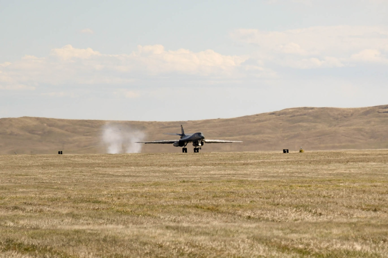 A B-1B Lancer touches down at Ellsworth Air Force Base, S.D., after completing a nearly 29-hour round-trip sortie to the Pacific theater of operations April 22, 2020.