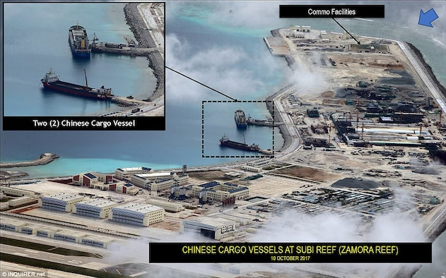 Beijing's militarization of the South China Sea is best illustrated by China's construction of man-made islands tailored to military-specific functions.