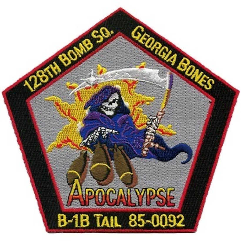 """While serving with the 128th Bomb Squadron, tail #85-0092 sported the nose art, """"Apocalypse."""""""